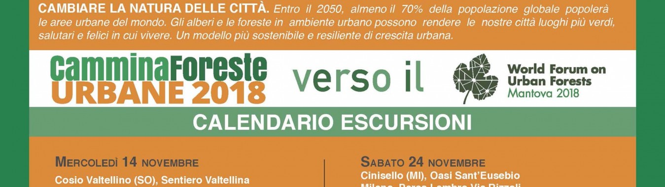 Calendario escursioni Cammina foreste urbane 2018